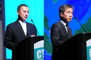 Shinichi Takeuchi, Chief Architect of Toyo Ito & Associates, and Hin Kong Poon, Deputy Chief Development Officer of CapitaLand Limited, discuss the design and Development of CapitaGreen.