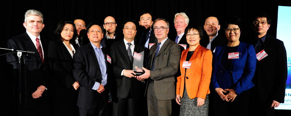 The Shanghai Tower team accepts the Best Tall Building Worldwide award